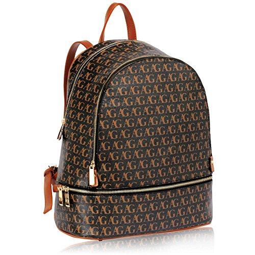 Damen Rucksäcke Modisch Designer Taschen zum Frau Schule Taschen zum Mädchen Gold Metall Arbeit Mit Zwei Einstellbar Schulter Startet Schwarz