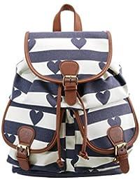Even&Odd Rucksack Damen mit längenverstellbaren Schultergurten - Backpack mit Handyfach in Schwarz Pink geblümt oder Weiß Blau gestreift - Stylischer Canvas Tagesrucksack aus Baumwolle