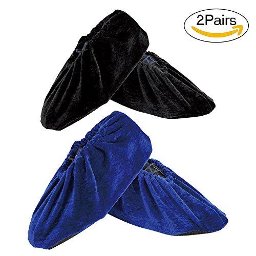 Newkeen 2 Paare Velvet AntiSlip Anti-Rutsch Schuhüberzieher,überschuhe überzieher Schuhüberzieher Shoe Cover Hülle,wiederverwendbar überschuhe Staubfrei,Für die meisten erwachsenen,Schwarz+Blau