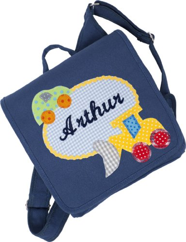 Kindergartentasche mit Namen und Kinderrucksack mit Namen (Motiv Apfel) Motiv Bagger
