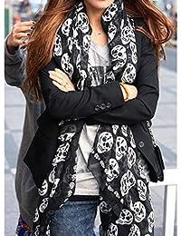 Écharpe unisexe, foulard décoratif avec motif tête de mort imprimée en  mousseline de soie, 12230670473