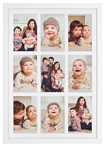 Golden State Art 13,6x 19,7mattiert Weiß Collage Bilderrahmen, Holz, 9-Opening für 4x 6, Echtglas, Weiß, 13.6x19.7 (öffnen 6 Bilderrahmen)