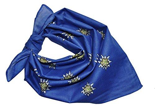 tentuch Halstuch Edelweiss Baumwolle AT-21 (Blau) (Alpine Tracht)