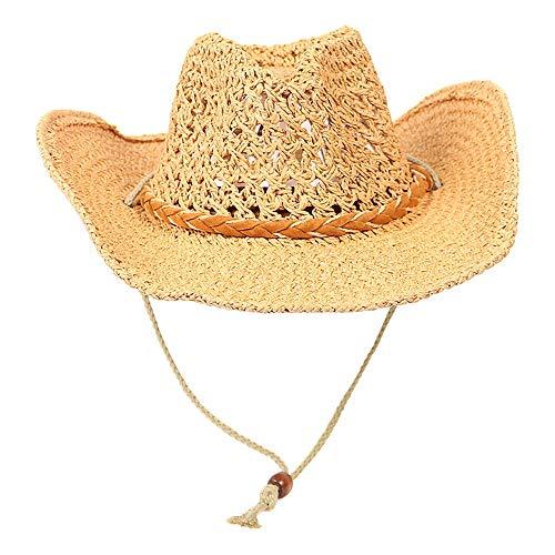 VISER Cowboy Western Aussie Raffia Straw Panama Style Erwachsener Kind Visier Sonnenhut UV-Schutz Sommerhüte Strandhut Safari Boonie Hat Faltbarer, atmungsaktiver Mesh und verstellbarer Kinnriemen Elt - Aussie-cowboy-hut