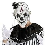 Máscara de terror payasito Antifaz payaso killer con sombrero y pelo Mascarilla pierrot látex Complemento para disfraz de miedo Careta terrorífica arlequín Antifaz Halloween