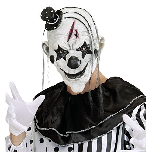 Cagoule clown horreur Masque de clown tueur avec chapeau et cheveux déguisement de visage pierrot terrifiant accessoire costume de clown horreur mascarade d'Halloween effrayant masque de clown
