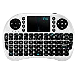 Rii Mini i8 Wireless (layout Español) - Mini teclado ergonómico con ratón touchpad para Smart TV, Mini PC Android, PlayStation, Xbox, HTPC, PC, Raspberry Pi , color Blanco