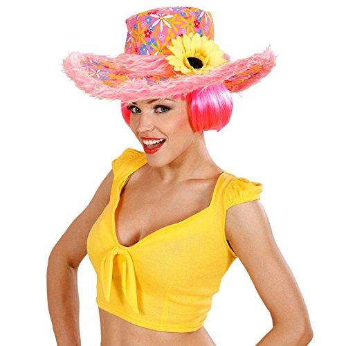 Gorro hippie Flower Power sombrero rosa con flores