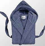 Casabella Peignoir de Bain à Capuche 100% Coton éponge, Coton, Teal Grey, Small
