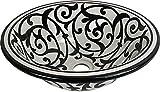 Black Friday - Orientalisches handbemaltes Keramik Waschbecken - Azrou Schwarz - Gemalt innen heraus Di 40 H 16 cm