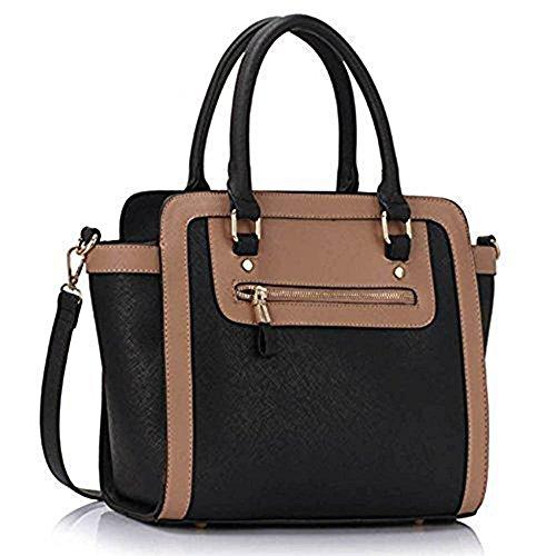 TrendStar Frau Des Faux Leder Handtasche Neu Damen Schulter Taschen Für Leinentrage Entwerfer Stil Berühmtheit Des Faux Leder A - Schwarz/Nude 2