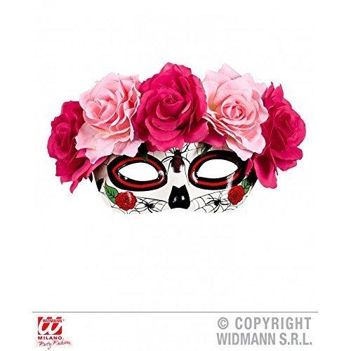 Preisvergleich Produktbild Augenmaske dia de los muertos mit Rosen in rosa - rot / Halloween / Fasching / Karneval