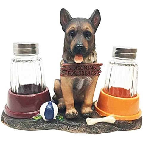 Adorable Canine Patrol German Shepherd Puppy Dog Salt and Pepper Shaker Set with Dog Treat Bowls Figurine Stand Holder Decor Sculpture as Kitchen Decor Table Centerpieces or Spice Racks by Gifts & Decors