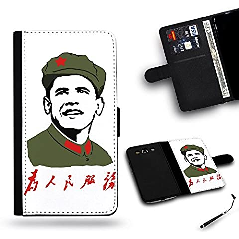 Teléfono Móvil/Tienda/Full protección funda carcasa ranura de funda de piel tipo cartera para Samsung Galaxy S4i9500, Samsung S4//Servir la gente Obama Mao Zedong