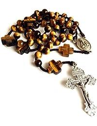 elegantmedical rosario amarillo cuentas de Jade de ojo de tigre para hombre rosario Cruz católica collar