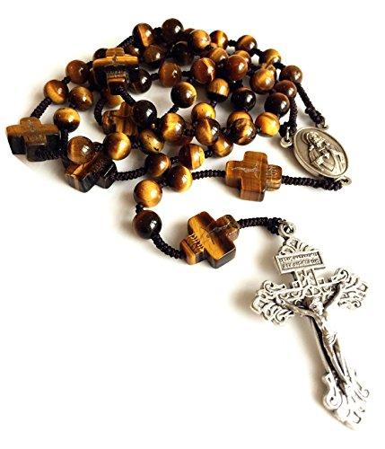 elegantmedical Rosenkranz gelb Tiger Eye Jade Perlen Herren Damen Rosenkranz Kreuz katholischen Halskette