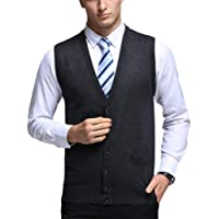 Mens V-Neck Gilet Sleeveless Vest Waistcoat Classic Gentleman Knitwear Cardigans Knitted Sweater Tank Tops with Buttons