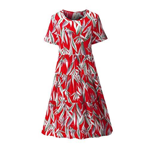 leider Rundhals Kurzarm Blumen Mode Strand Midi Kleid mit Doppelte Taschen T Shirt Kleid ()