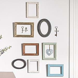 miavilla 10 teiliges bilderrahmen set holz verschiedene formen und farben. Black Bedroom Furniture Sets. Home Design Ideas
