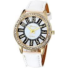 Xinantime Relojes Mujer,Xinan Reloj Cuarzo Acero Inoxidable Analógico PU Cuero (Blanco)