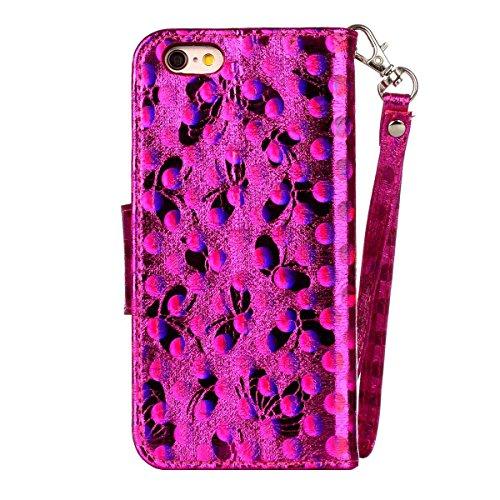 iPhone 6 Hülle, SHUNDA Brieftasche Schutzhülle Flip Leder Handyhülle mit Kippständer Bling Schmetterling Bookstyle Handycover für iPhone 6 / 6S - Blau Hot Rosa