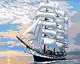 DAMENGXIANG DIY Handgemalte Zahlen Ölgemälde Maritime Große Segelschiff Landschaft Abstrakte Kunst Bilder Für Wohnzimmer Wohnkultur 40 × 50 cm Mit Rahmen