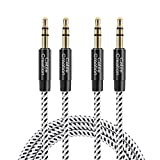 3,5 mm Klinkenkabel, CableCreation 2 Stück 3,5 mm Aux Stereo Kabel (Stecker auf Stecker),Audiokabel kompatibel mit iPhone,Auto, Kopfhörern, Tablets, Priva III usw, [6ft / 1.8 M] Schwarz & Weiß