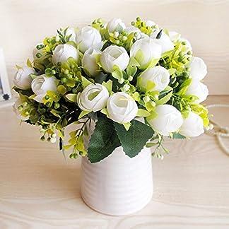 XCZHJ Flores Decorativas Artificiales Jarrón Cerámica Artificial Camelia Estilo Rural Blanco B Los Productos de Flores Incluyen:Flores Artificiales,Flores Artificiales Blancas.