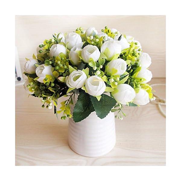 XCZHJ Flores Decorativas Artificiales Jarrón Cerámica Artificial Camelia Estilo Rural Blanco B Los Productos de Flores…