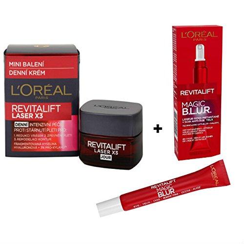 L'Oréal Pack de 2 Produits Revitalift Laser X3 - 1 Crème de Jour Anti-Âge Acide Hyaluronique + 1 L'Oréal Paris Revitalift Magic B.L.U.R Soin Yeux Anti-âge Lisseur Rides Instantané