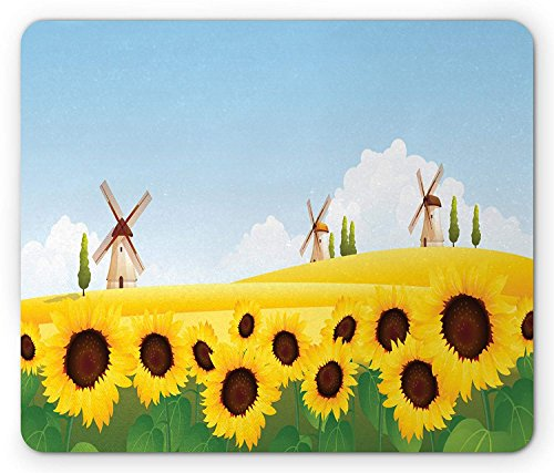 Sunflower Mouse Pad, Flower Field in The Farm with Traditional Windmills Harvest Theme, Standard Size Rectangle Non-Slip Rubber Mousepad, Blue Earth Yellow Green 9.8 X 11.8 inch