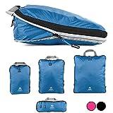 Outdoor Panda Lot de cubes de compression ultra légers pour sac à dos et valise, compression hydrofuge, organiseur de bagages et sac à vêtements, bleu, Set (1 XL,1 L, 1 M, 1 S)