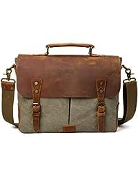 TIDING da uomo, in tela, borsa da viaggio Tote Bags Borsa a tracolla in pelle, per la scuola