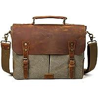 TIDING da uomo, in tela, borsa da viaggio Tote Bags Borsa a tracolla in pelle, per la scuola - Pelle Cartella Sottile
