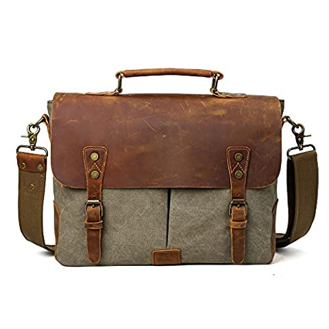 TIDING Men's Vintage Canvas Cotton Genuine Leather Satchel Casual Leisure School Outdoor Travel Messenger Shoulder Bag Army Green