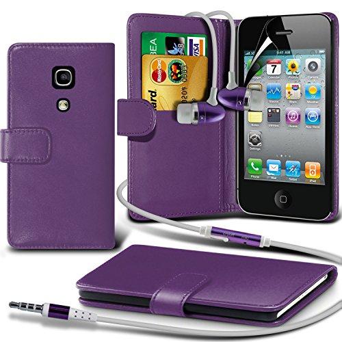 Portefeuille en cuir couverture de peau de cas de secousse Avec écran LCD Protecteur Pour Apple iPhone 4 By i-Tronixs Violet + écouteur