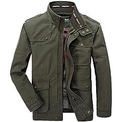 YYZYY Hombre Otoño Invierno Algodón Militar Ejército Chaquetas Abrigo al Aire Libre Rompevientos Bombardero Caza Mens Jacket (EU/ES X-Large, Verde)