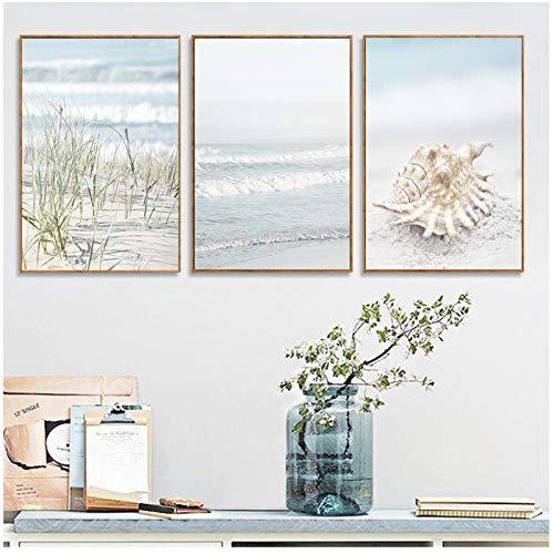 wzgsffs Nautische Landschaft Poster Shell Algen Wandkunst Ocean Wave Leinwand Malerei und Drucke Badezimmer Bilder für Wohnzimmer Decor-50x70cmNo Frame