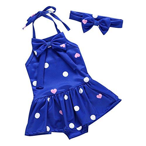 Brightup Baby Mädchen Bademoden Pareos & Strandkleider Badeanzüge Strand tragen mit Stirnband, Bowknot, blau