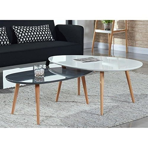 STONE Table basse 88 cm - Laqué gris brillant