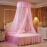Navigatee Princess Bed Valance, hängende Runde Spitze Baldachin Bett Netting Moskitonetz Dome Comfy Moskitonetz für Kind Student Krippe Twin Queen-Bett (Rosa)