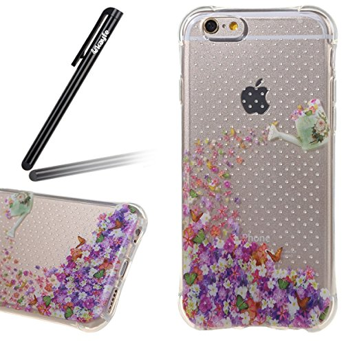 Coque Housse Etui pour iPhone 6S Plus, iPhone 6 Plus Coque en Silicone, iPhone 6 Plus/ 6S Plus Slim Coque Transparent Soft Etui Housse,iPhone 6 Plus/ 6S Plus Silicone Case TPU Protective Gel Cover Ski Flower Pot