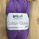 Gründl Cotton Quick Uni, Vorteilspack 10 Knäuel, Lavendel Handstrickgarn, Baumwolle, 29 x 12 x 7 cm