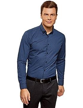 oodji Ultra Uomo Camicia Stampata con Colletto Doppio
