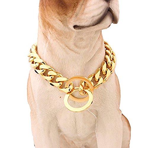 Mcsays Hundehalsband, Panzerkette im Hip-Hop-Stil, Gold, breit, 15 mm, Flachpanzerkette, kubanisch, 316L-Edelstahl, für Ihren Hund, Würge-Halsband -