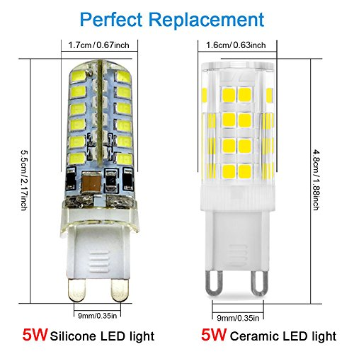 KINDEEP G9 LED Bulb - 5W / 400LM, 40 Watt Halogen Bulbs Equivalent, Daylight White 6000K, 360° Beam Angle, 220-240V, 5-Pack