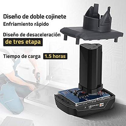 Taladro Atornillador 21V, DETLEV Pro Destornillador Elétrico 240W con 2 Baterías de Li-ion 1.5Ah, 2 Velocidades, Máximo Par 42N.m, 42 Accesorios, 8104