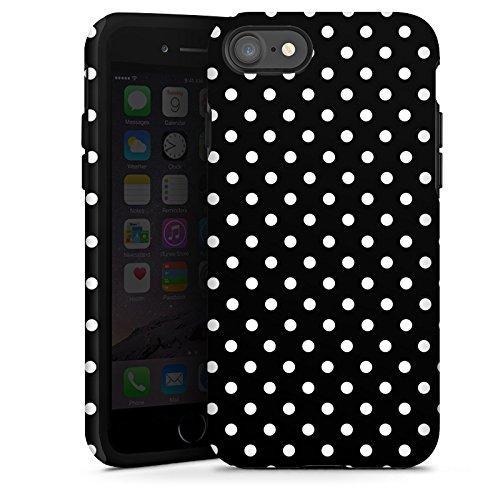 Apple iPhone 7 Silikon Hülle Case Schutzhülle Punkte Schwarz-Weiß Retro Tough Case glänzend