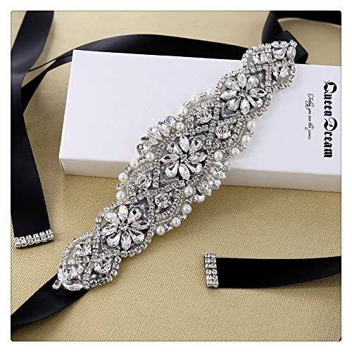 Queendream cintura cinturino in strass da sposa con nastro nero per abito da damigella d'onore e da sera