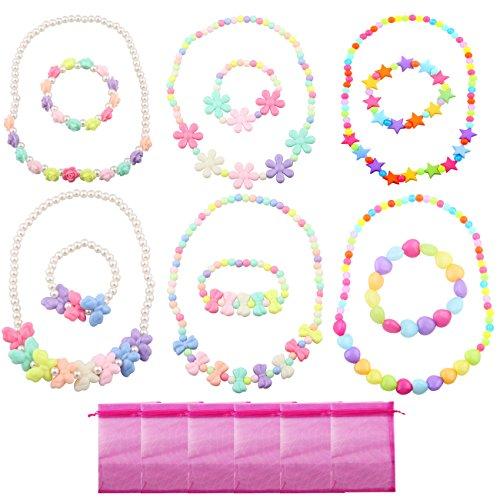 Candygirl Baby Mädchen Party Favor Schmuck Kollektionen der Halskette und Armband 6Sets pro Pack Kostüm Schmuck Kleinkinder Kinder Kleid ()